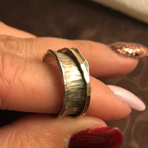 Stamped silver and gold ring